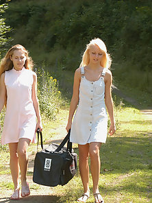 Reba and Katerina Outdoor Sunbathing With Dildo Action in Naked Body