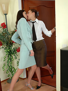 Lovely Esther and Emmie Strips Slightly Their Dress and Shows Their Horny Action