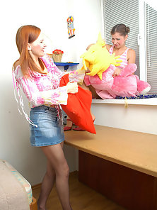 Horny Lesbians Sophia and Marion Making Tribbing Each Other Round Ass