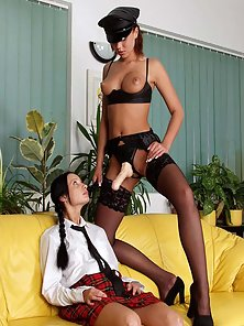 Beauty Schoolgirl Doing Blowjob and Licking Using Dildo with a Lady Police