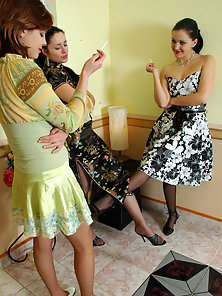 Laura and Rosa and Mirabel seductive lesbians in pantyhose