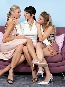 Naughty Katty Tania and Ally Making Threesome Sex Action on the Sofa