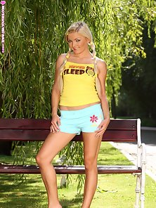 Yellow Dressed Pigtail Blonde Babe Dildoed Hard In the Park with Huge Excitement