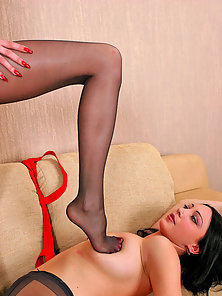 Hot Chicks Clare and Gwendolen in Black Pantyhose Rubbing Boobs by Foot