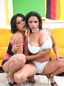 Two Horny Lesbian Babes Posing Their Boobs with Rubbing Action