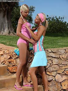 Hot Blonde Babes Lila and Hailee Kissing and Licking Pussy Outdoor