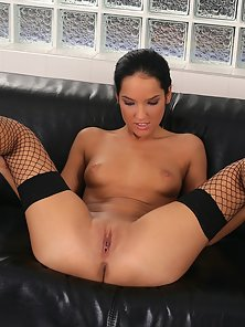 Fishnet Stockings Wore Petite Babe Esmeralda Sultry Leg Spread Hot Action