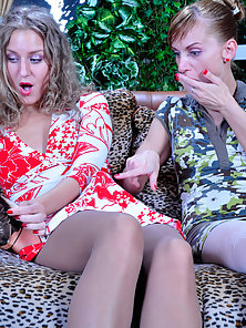 Sexy Pantyhose Babes Barbara and Rosa Liked and Fucked Strapon in Doggy Action