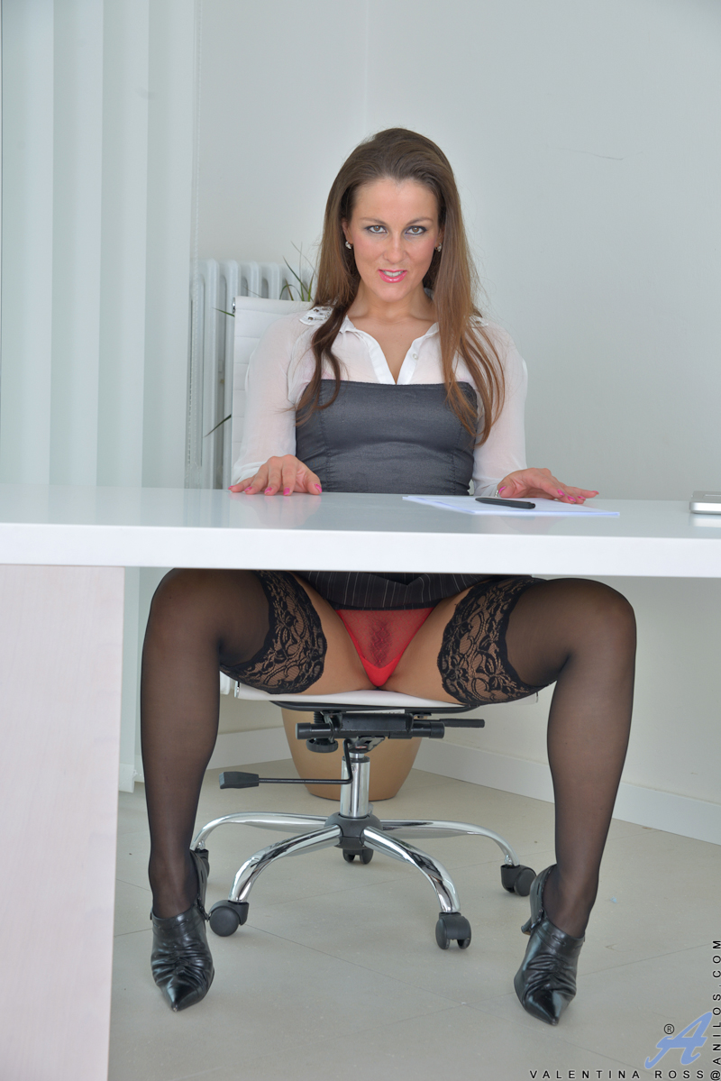 mature secretary upskirt - Pretty Redhead Mommy Flashes Her Sexy Red Panties in Office