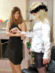 Maria and Ninon Having Strapon Dildo Fucking In Back Pose With Great Blowjob