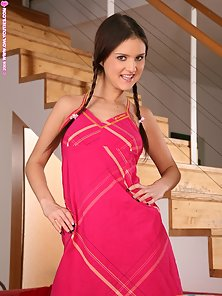 Long Hair Pigtail Babe Aurelia Enjoying Masturbating Action on the Couch