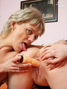 Dazzling Lesbian Chicks Banged by Dildo in Their Tight Pussies