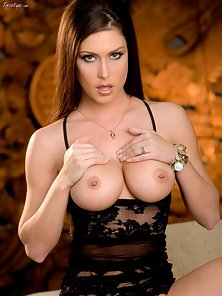 Black Dressed Horny Babe Jessica Showing Her Big Tits on You