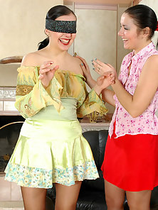Cute Ponytail Brunette Pantyhose Chicks Laura and Rosa Making Licking On sthe Couch