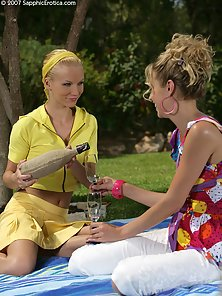Blondie Lesbian Babe Alison and Judit on Grass Face Sit and Finger Action