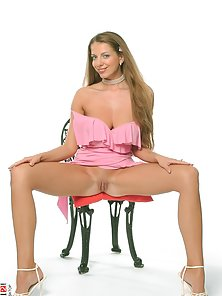 Pink Dressed Beauty Brown Headed Chick Glam Crazily Showing Her Nice Ass