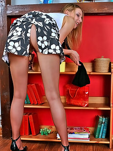 Two Sexy Pantyhose Blonde Babes Lillian And Frieda Showing Their Hot Body In Horny
