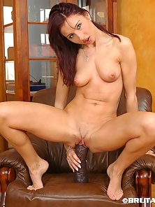 Artificial Big Cock Enter To Her Pink Twat Hole by Stunning Figure Babe Olivia