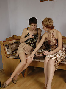 Short Haired Julya and Polina Licking Tits and Hairy Muff in Huge Excitement