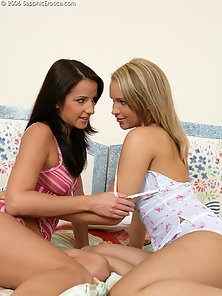 Two Adorable Babes Lola R and Tiffany Finger and Lick Tight Pink Cunts
