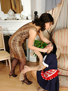 Brunette Pantyhose Girls Gertie and Amelia Enjoying Licking Each Other Twat