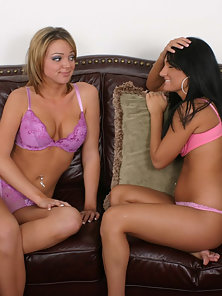Glorious Blonde And Brunette Babes are Enjoying Strapon Pounding