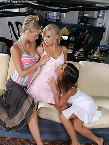 Naughty Briget Geena and Britta Licking and Kissing On Couch before Fingering