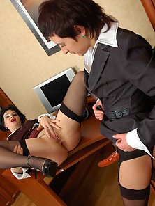 Uniform Wore Gorgeous Babe Renee Gets Dildo Riding by Hot Babe Mia