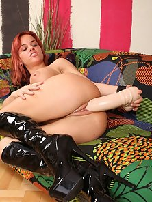 Redhead Naughty Babe Crazily Fucking Her Pussy by Huge Dildo