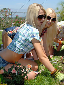 Smoking hot lesbian girls gardening in the backyard watch them go back home and fuck adn suck each o