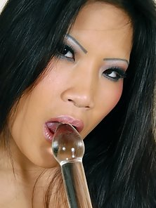 Tight Yummy Cunt of Sexy Brunette Babe Is Hugely Satisfied By the Glass Dildo