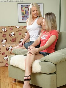 Ingrid, Ivanka Two Babes Naked On Couch and Hairless Twat Lick and Finger
