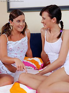 Pigtail Teens Avidat and Britta Licking and Dildoing Each Other