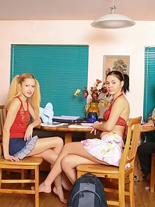 Wow Masha Gets Massive Dildo Riding by Her Partner Nina on Table