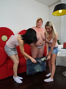 Busty BBW Babe Excited To Take Lesbian Fun with Two Teen Girls