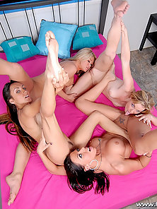 Group of Hot Lesbian Girls Posing Their Naked Bodies and Licking Their Wet Cunts