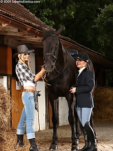 Two Horse Rider Aneta, Mya Lick Kiss Face Sit Action in Horse Shade