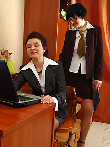 Sexy Office Girls Renee and Mia Huge Kissing and Licking Their Twat