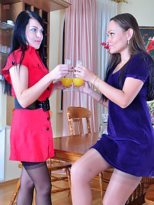 Muriel and Paula nylon lesbian cuties