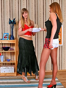 Two Blonde Pantyhose Girls Monica and Emeralda Enjoying Tribbing on the Floor