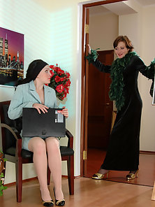 Gwendolen and Ira awesome stockings lesbians