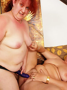 Granny BBW Lesbians Are Enjoying Strapon Fucking Action with Nipple Sucking