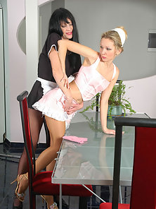 Rosaline and Sophia doing their pantyhose
