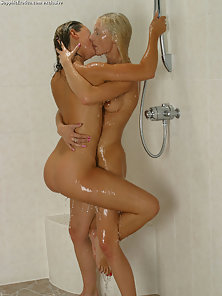 Sexy Jo and Sabrina Soapy Massage In Shower and Nipple Lick Kiss in Bathroom