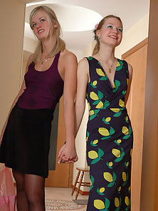 Cute Looking Lesbians Sarah and Diana Making Horny Tribbing Action in Standing