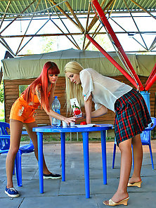 Naughty Leonora and Hilda Enjoying Playing Each Other Pantyhose in Horny Mood