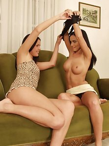 Two Brunette Babes on Couch Lick Shaved Pussy and Finger Tight Hole
