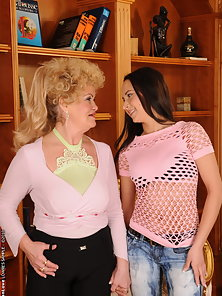 Brunette Teen and Granny Lick Kiss and Strap on Dildo Riding Action