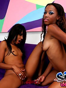 Looking Hot Two Black Beauties Fucked By Their Juicy Black Hairy Pussy
