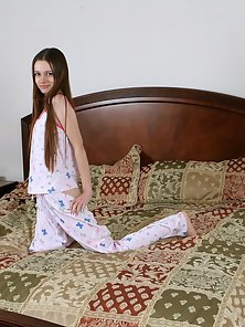 Dazzling Brunette Teen Hope Strips and Fuck Her Tight Pussy by Dildo